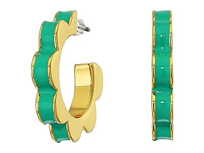 Kate Spade New York Sliced Scallops Enamel Huggies Earrings (Turquoise) Earring
