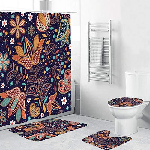 Xmiral Duschvorhänge Badezimmerteppich U-Pad über WC-Sitzkissen 4 Stück Satz Polyester Gedruckte Badezimmer Rutschfeste Zubehör(G)