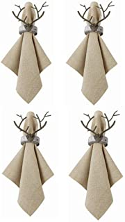 Mud Pie Home Lodge Collection Bronze Finish Deer Antler Napkin Ring-Set of 4-Silver Ring