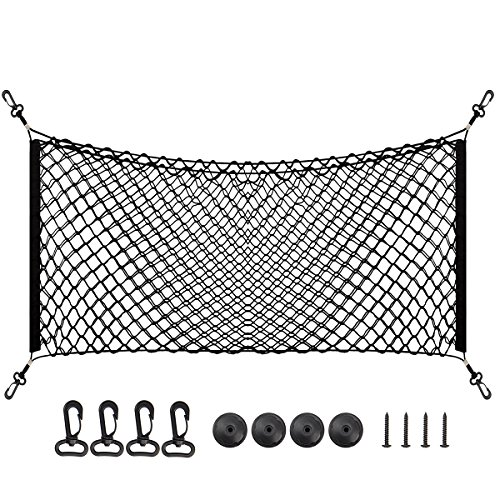 PAMASE 43' x 17.5' Large Adjustable Elastic Envelope Cargo Net for Tacoma SUV Yukon, Black Flexible Car Trunk Storage Organizer Net with 2 Installation Options - XL
