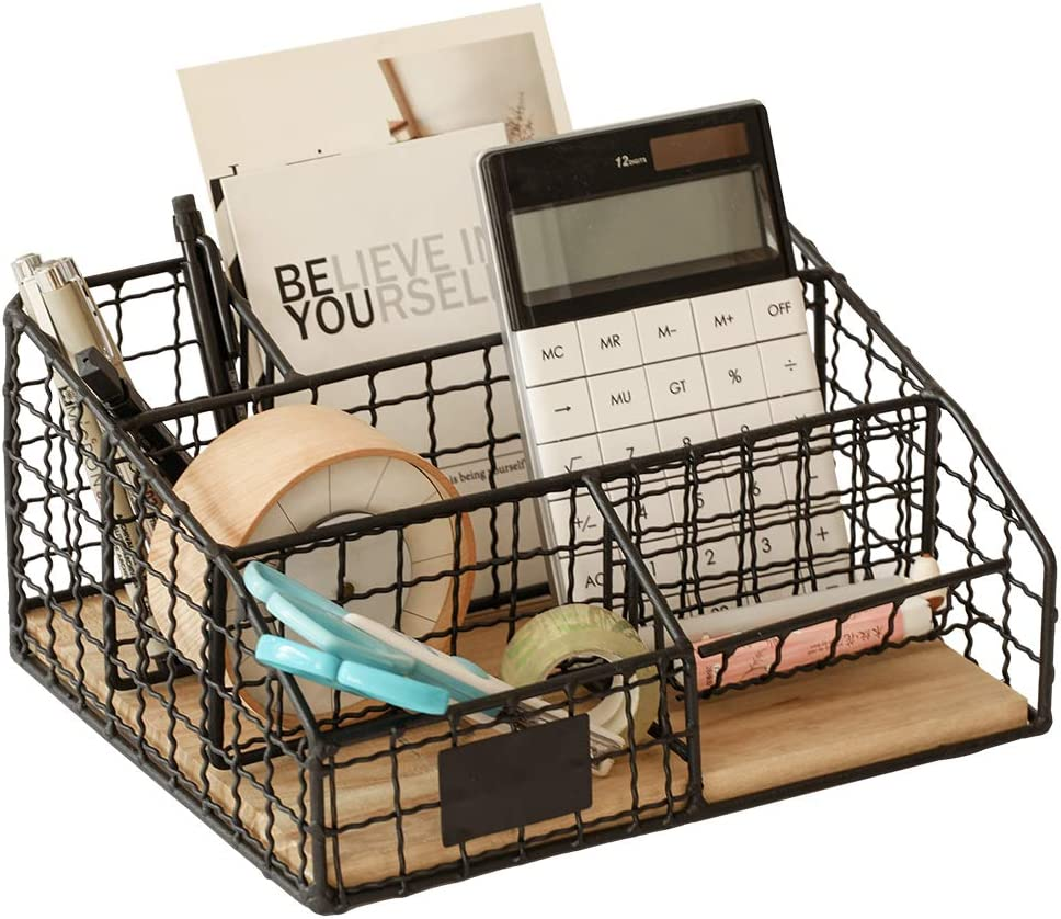 Office Desk Organizer Office Supplies Caddy 5 Compartments, Metal Desktop Organizers Storage with Removable Wooden Partition, Black