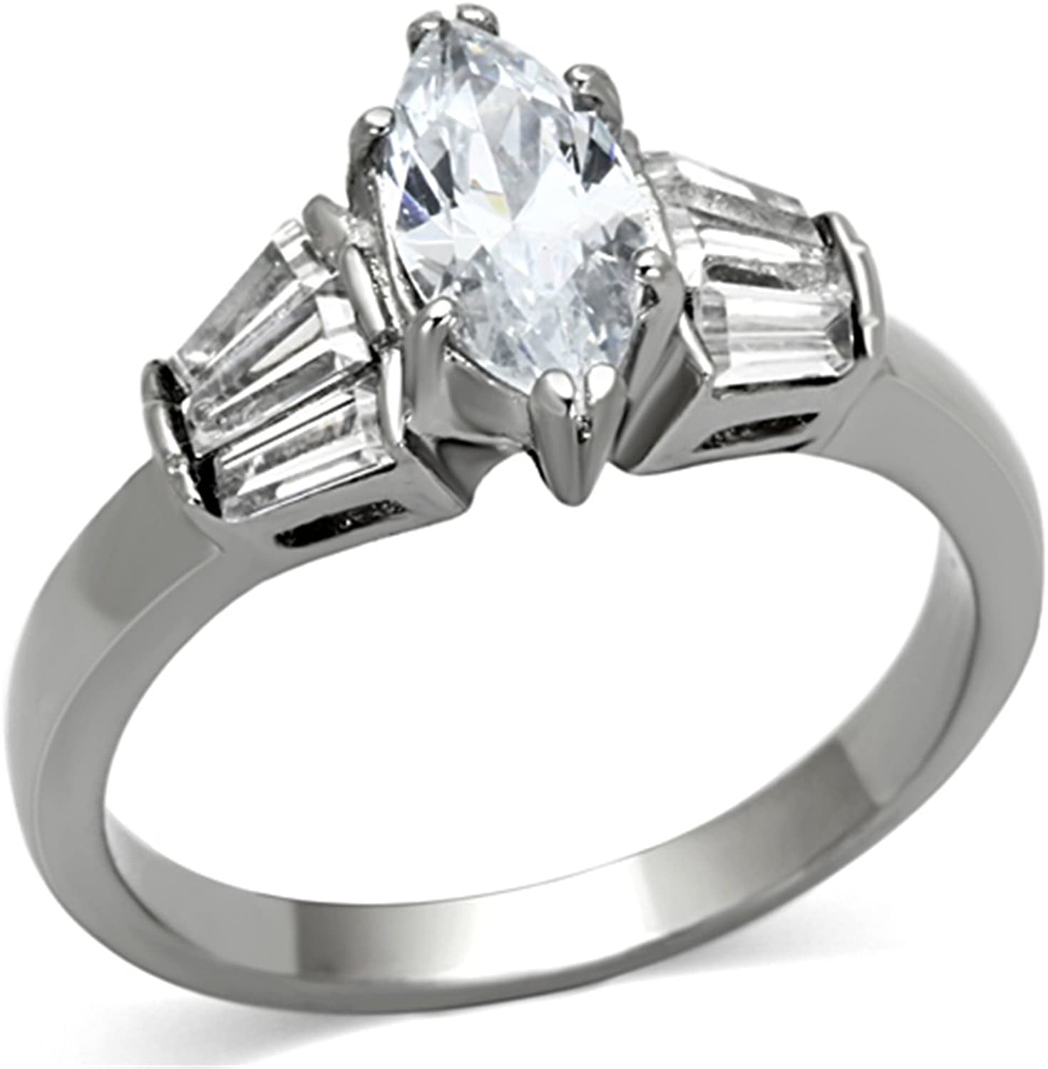 10x6 mm Marquise Cut Clear CZ Tarnish Free Stainless Steel Wedding Ring