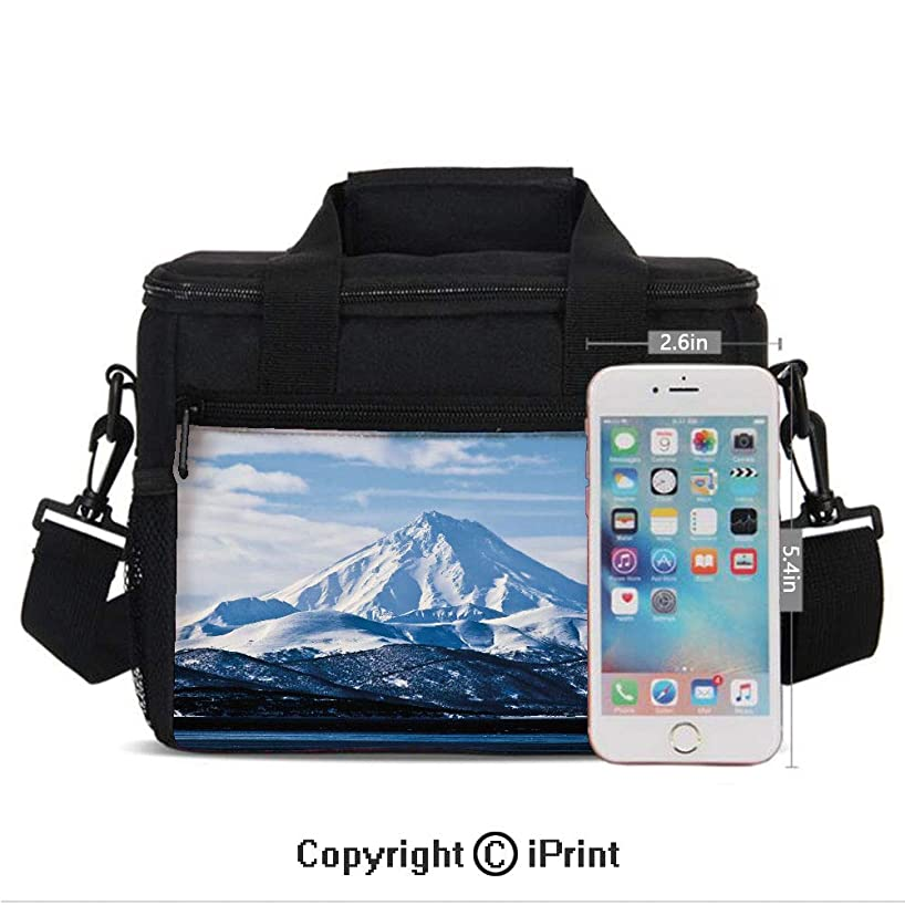Mountain Covered with Snow in Winter Season Idyllic Hills Aerial Scenery Decorative Print Lunch Bag Portable Insulated Lunch Boxes with Zipper and Pocket,Light Blue Dark Blue