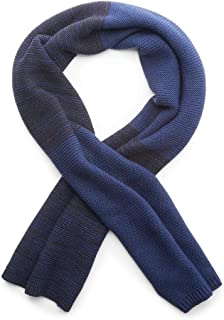 Blue Steve Madden Mens Striped Waffle Scarf One Size
