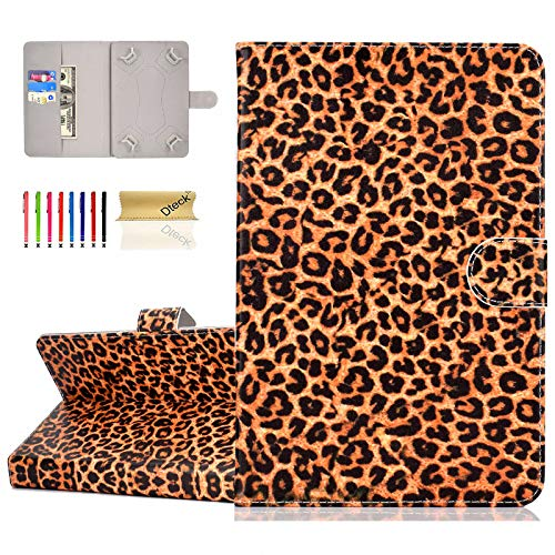 8.0 Inch Universal Tablet Case - Dteck Protective Leather Wallet Flip Cover Case with Card Slots for Samsung Tab/Lenovo/Dragon Touch/ASUS ZenPad/Huawei/Android 8' 8.4 Tablet(Yellow Leopard Print)