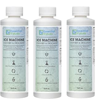 Ice Machine Cleaner 16 fl oz (3 Pack), Nickel Safe Descaler | Scale Remover, Universal Application for Whirlpool 4396808, Manitowac, Ice-O-Matic, Scotsman, Follett Ice Makers by Essential Values