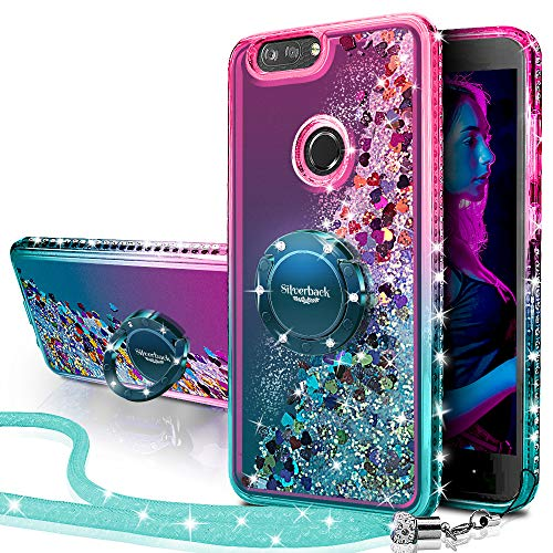 ZTE Blade Z Max Case, ZTE Blade Zmax Pro 2 Case, ZTE Sequoia Case, Silverback Girls Women Moving Liquid Holographic Glitter Case with Ring Stand Bling Case for ZTE Z982 -Green