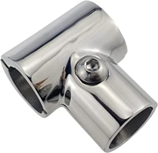 NRC&XRC Heavy Duty 316 SS Polished Boat Hand Rail Fitting- 90 Degree T/Tee Hinged/Split for 7/8
