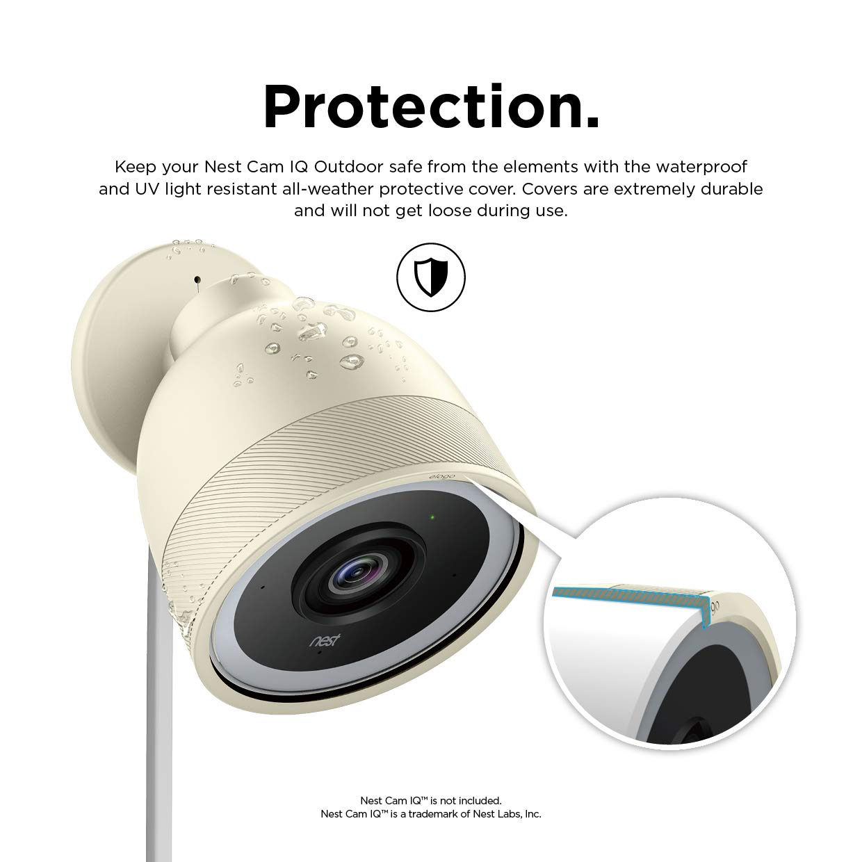 Amazon Com Elago Google Nest Cam Iq Outdoor Security Camera Cover Classic White Infrared Led Visible Holes For Microphone Speaker Camouflage Easy Installation All Weather Protective Skin Ventilation