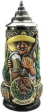 German Beer Stein Hispanic Themed Stein 0.5 liter tankard, beer mug, rustica, hand-painted, with pewter lid