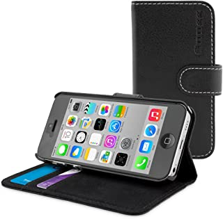 iPhone 5C Case, Snugg Black Leather Flip Case [Card Slots] Executive Apple iPhone 5C Wallet Case Cover and Stand - Legacy Series