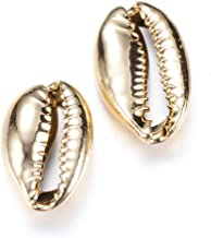 Kissitty 10pcs Electroplate Golden Plated Cowrie Shell Beads Oval Ocean Beach Spiral Seashells for Vase Filler Fish Tank Home Party Wedding Decoration 18-23mm 0.7-0.9