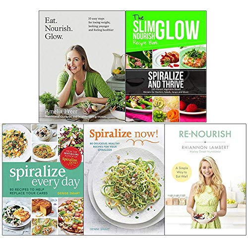 Eat Nourish Glow, Spiralize Snd Thrive Vegetable Recipes, Spiralize Everyday, Spiralize Now, Re-Nourish 5 Books Collection Set