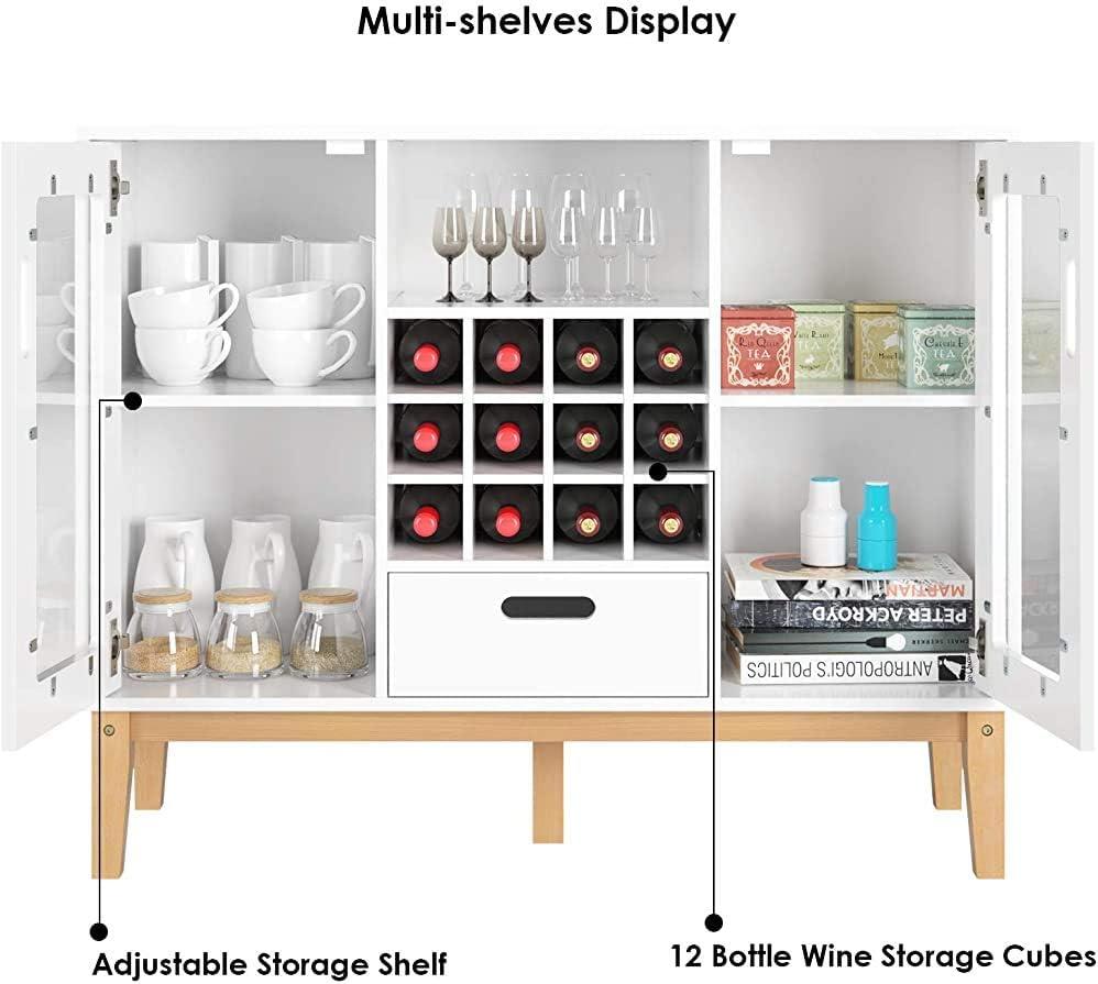 Aparador con botellero con capacidad para grandes botellas de capacidad de 12 bar restaurante para el almacenamiento de vivir,White