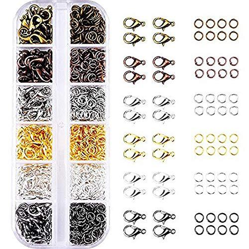 inherited Karabinerverschluss Schmuck Karabiner Verschluss, 6 Farben Hummer Greifer Haken Karabinerhaken und 6 Farben Öffnen Sprung Ringe für Schmuckherstellung Halskette Armband schmuck