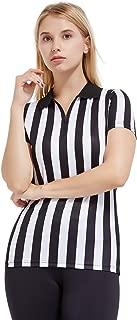 FitsT4 Women's Black & White Stripe Referee Shirt,Zipper Referee Jersey Short Sleeve Ref Tee Shirt for Refs, Waitresses & Costume