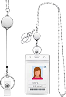 Lanyard with ID Holder Retractable Badge ReelLanyards for Women Fashion Stainless Steel Necklace with Water Resistant Name Badge Holder Clip (Silver 1)