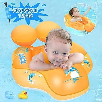 Laycol - Flotador inflable para piscina de bebé, anillo para añadir cola sin voltear para edades de 3 a 36 meses, entrenador de natación, Amarillo, L