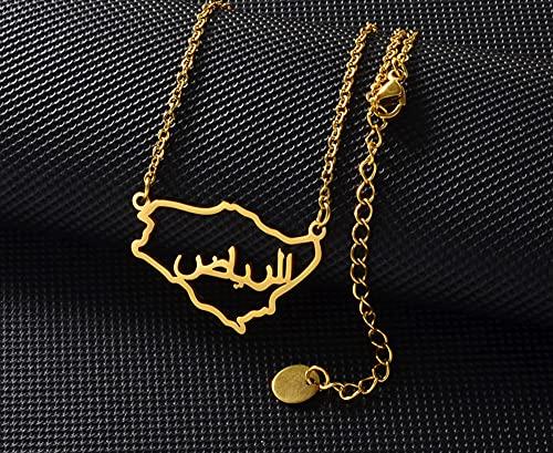 ZFHUAFENG Collar de Mapa del Mundo, Collar con Colgante de Mapa de Arabia Saudita.Personalidad Vintage Fina Decoración Creativa Collar Signo Colgante Joyería de Moda Unisex, Plata