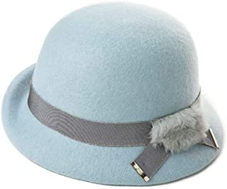 YANGBM Ms. Wool Hat Child, British Retro Hat, Bucket Hats, Warm Autumn and Winter Hats, Adjustable Strap Invisible, Breathable and Lightweight Fashion (Color : Blue)