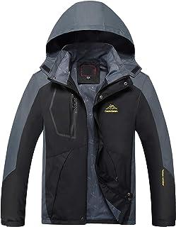 Naudamp Men's Softshell Waterproof Jacket Outdoor Lightweight Windproof Mountain Hiking Jacket Hooded Coat Multi Pockets W...