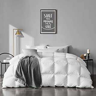 APSMILE 100% Organic Cotton Goose Feather Down Comforter Medium Warm All Seasons Hypoallergenic Duvet Insert (King, Ivory White)