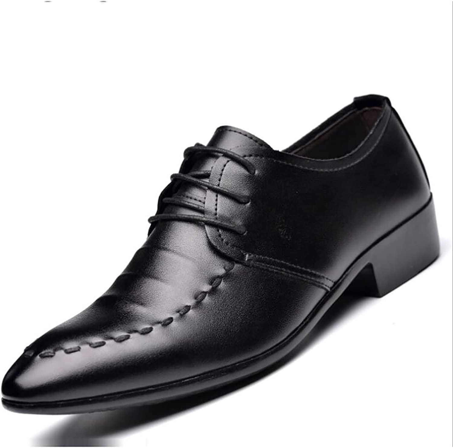 Gfp Men's Leather shoes Lace up Leather shoes Formal Business Work Comfy Moccasins Casual Men's shoes Pointed Lace-up shoes Wedding shoes