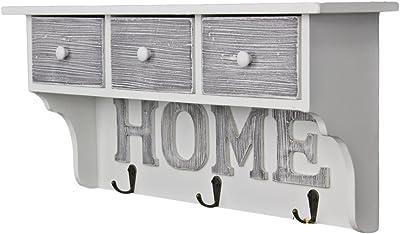 Attaccapanni da Muro Legno BSTCAR Mensola Appendiabiti da Parete Sweet Home Appendiabiti da Parete con 4 Ganci