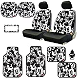 Yupbizauto Disney Mickey Mouse Design Low Back Sideless Car Seat Covers Spring Shades Floor Mats License Plate Frame Accessories Set with Air Freshener