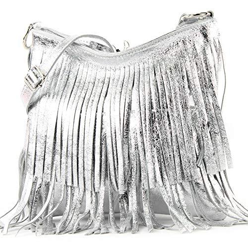 modamoda de - T125 - ital Schultertasche Fransen Wildleder, Farbe:Silber