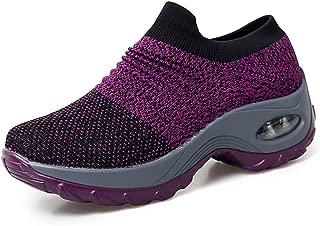 Women's Slip-On Walking Shoes Non-Slip Nursing Shoes Casual Fashion Platform Sneakers Comfortable Loafers Purple Size 10