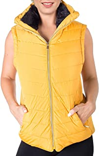 TYQQU Womens Hooded Gilet Warm Zipper Winter Vest Long Solid Color Vest Casual Quilted Vest with Pockets