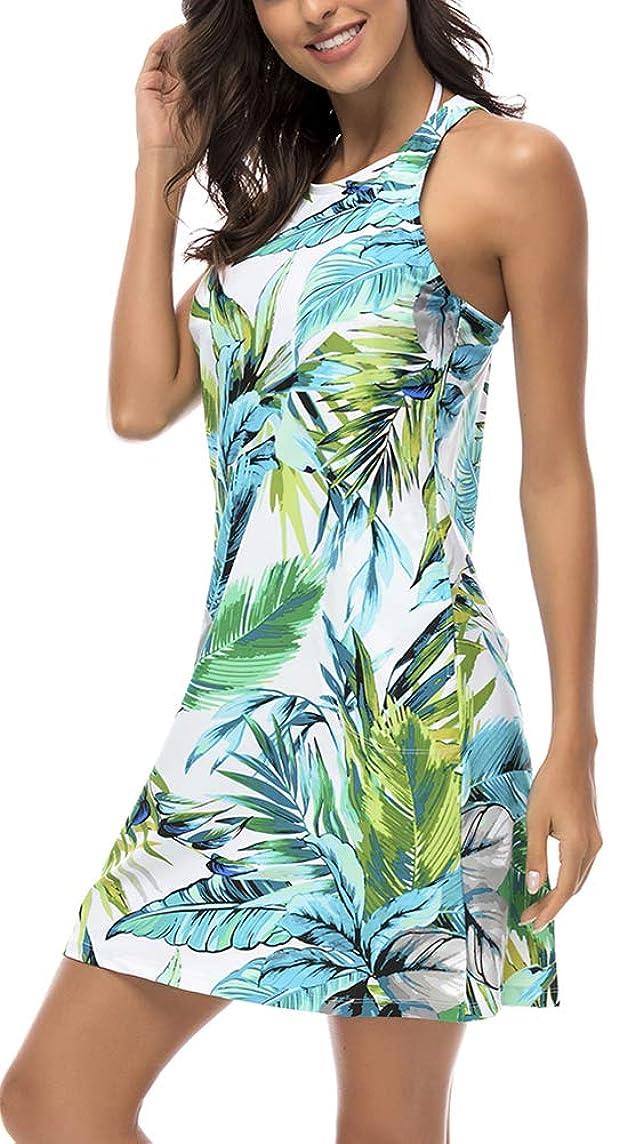 DUSISHIDAN Women's Floral Swimdress Modest Swimwear Slimming Swimsuit Cover up