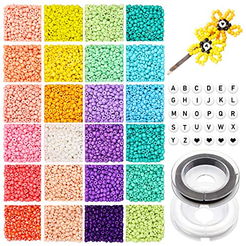 4800pcs 3mm 8/0 Bead Craft Kit Set, Glass Seed Beads Small Craft Beads Glass Pony Beads and 270pcs Letter Alphabet Beads with 2 Rolls of Cord for DIY Bracelet Necklaces Jewelry Making Supplies Kit