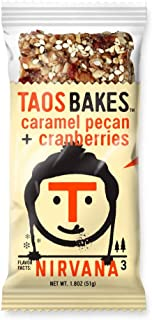 Taos Bakes Energy Bars - Caramel Pecan + Cranberries (Box of 12, 1.8oz Bakes) - Gluten-Free, Non-GMO, Healthy Snack Bars