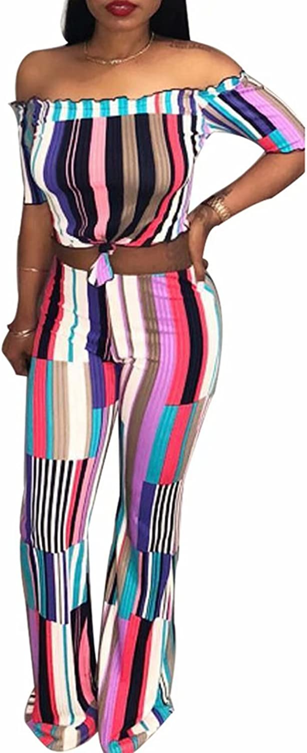 Adogirl Women Stripe Bodycon 2 Piece Outfits Wide Leg Jumpsuit Crop Top and Pant