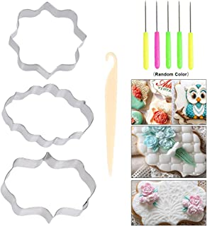 YANSHON 9 Pcs Plaque Frame Cookie Cutters Set, Include 3 Different Frames, 5Pcs Needle Modelling Tool Set and A Cake Stripping Knife