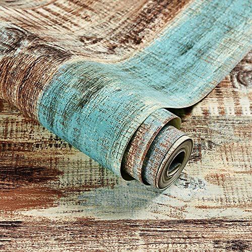JKONG Retro Nostalgic Wood Board Bunte Streifen Tapete Wohnzimmer Esszimmer Tapete Meerblau 10m * 53cm