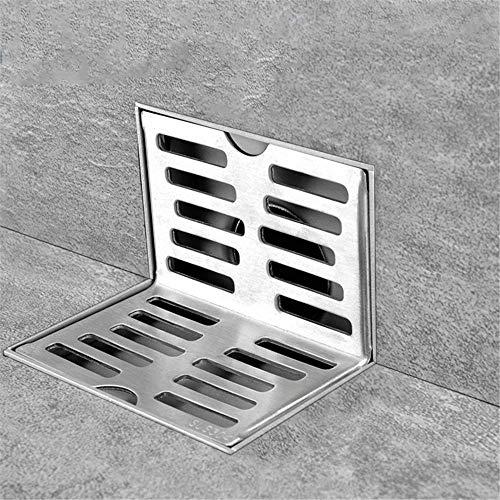 HHJJ Edelstahl Side Drain Wand Side Dusche-Abfluss Balkon Wand Corner Boden Gleiche Schicht Wandablauf Bodenablauf 0827