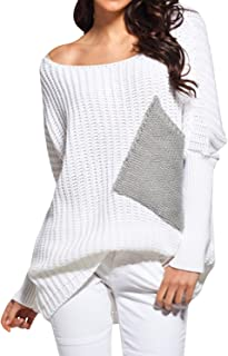 BBYES Women's Cute Crewneck Color Block Long Sleeve Knit Fall Pullover Sweater