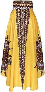 WOCACHI 2019 New African Skirts for Womens Printed Summer Boho Long Dress Beach Evening Party Maxi Skirt Under 5 Dollars Deals