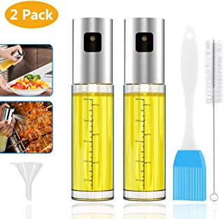 GeeRic Olive Oil Sprayer for Cooking 3.4 Ounce Capacity Food-grade Glass Bottle 2 Pcs Vinegar Mist Spray Dispenser BBQ Salad with Oil Funnel Basting Brush & Cleaning Brush