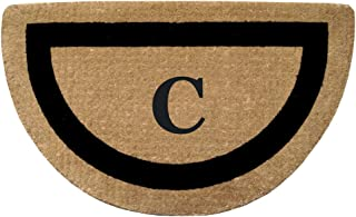 Nedia Home Single Picture Black Frame Half Round Heavy Duty Coir Doormat, 22 by 36-Inch, Monogrammed C