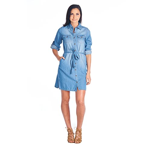 1ed2b67996 Blue Age Womens Chambray Denim Shirts Dress