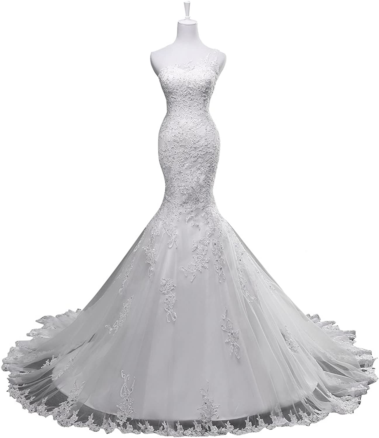HUICHENGYAO Women's One Shoulder Mermaid Lace Wedding Dress with Beaded