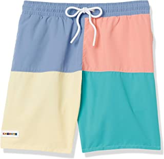 Men's Color Block Elastic Waist Swim Trunks