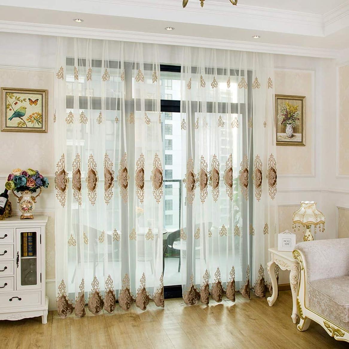 広まった活発勝利したWL ホワイト刺繍 レースカーテン,半薄い寝室チュール カーテン グロメット トップ半遮光 カーテン パネル,1 パネル-a 350x270cm(138x106inch)