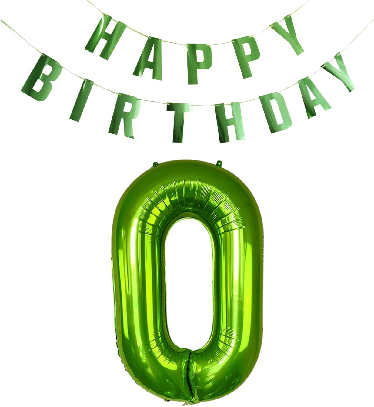 40 Inches Large Green Numbers 0-9 Foil Balloons and Shiny HAPPY