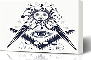 Ahawoso Canvas Prints Wall Art 16x12 Inches Masonry Esoteric Masonic Tattoo All Medieval Freemason Alchemy Seeing Eye Amulet Wooden Frame Printing Home Living Room Office Bedroom