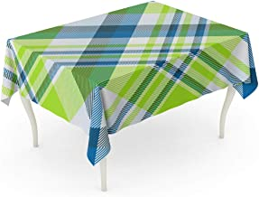 Emvency Rectangle Tablecloth 52 x 70 Inch Colorful Bright Plaid Printing Pattern in Lime Dark Green Teal Pale Blue and White Check Checker Color Table Cloth